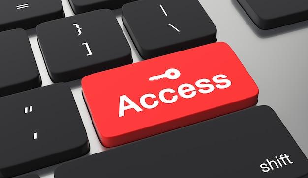 Concepto de seguridad de datos. acceso al texto en el botón del teclado