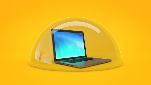 Concepto de seguridad informática representación 3d
