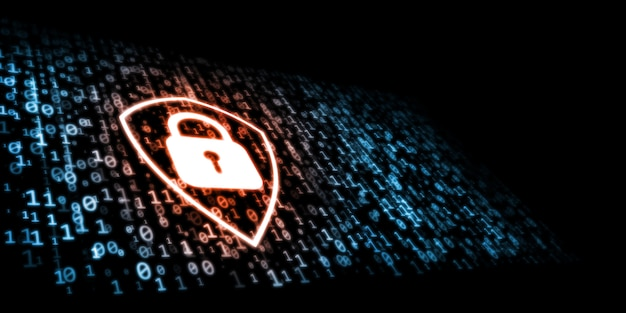 Concepto de seguridad en internet. el escudo antivirus protege las amenazas de datos binarios.