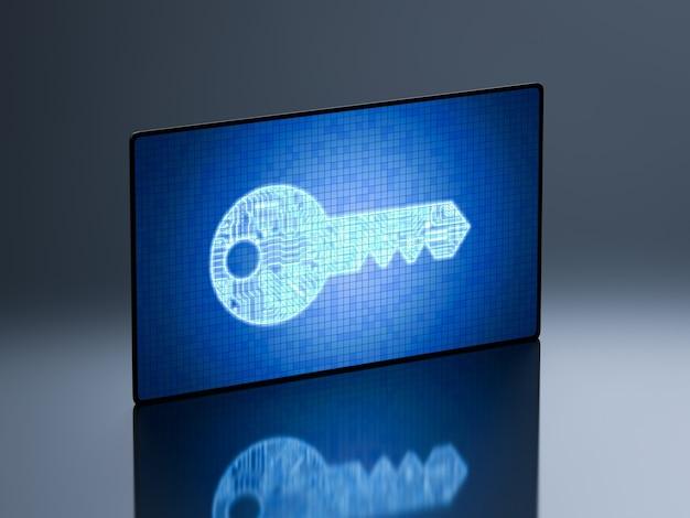 Concepto de seguridad online con pantalla digital y llave de circuito.