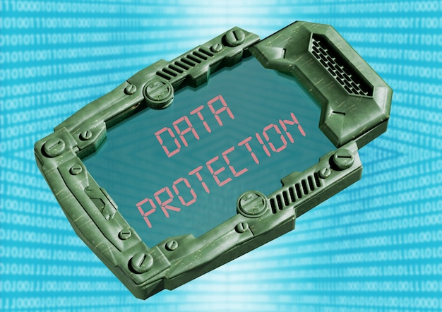 Concepto de seguridad de protección de datos. comunicador futurista de ciencia ficción con pantalla transparente