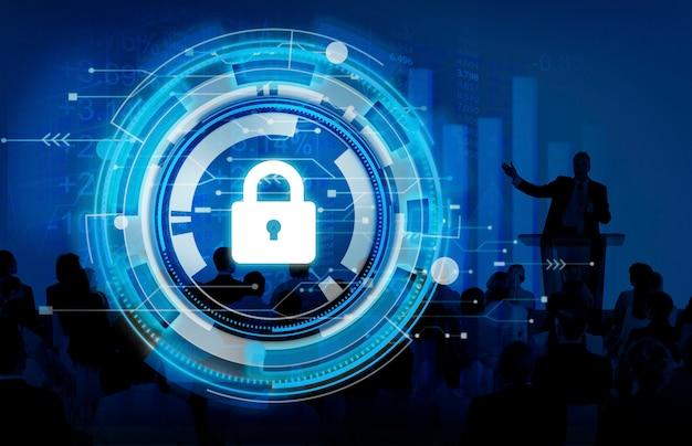 Concepto de seguridad de seguridad empresarial protección corporativa