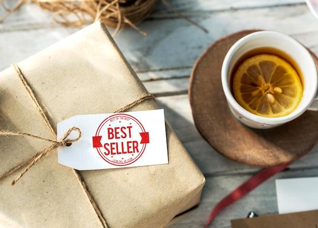 Concepto de sello de certificado de mejor vendedor