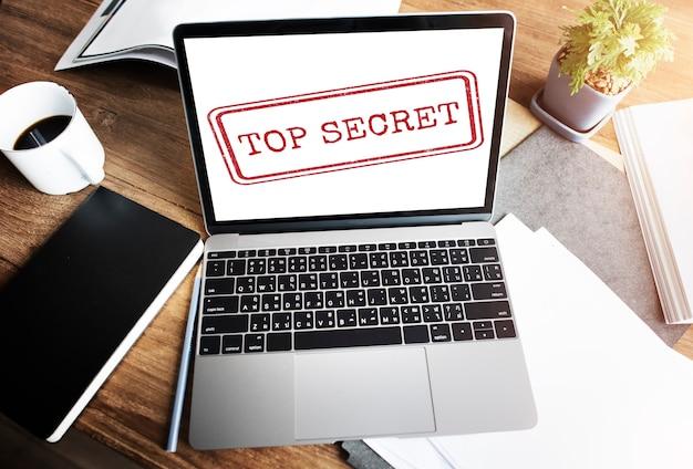 Concepto de sello clasificado confidencial confidencial de alto secreto