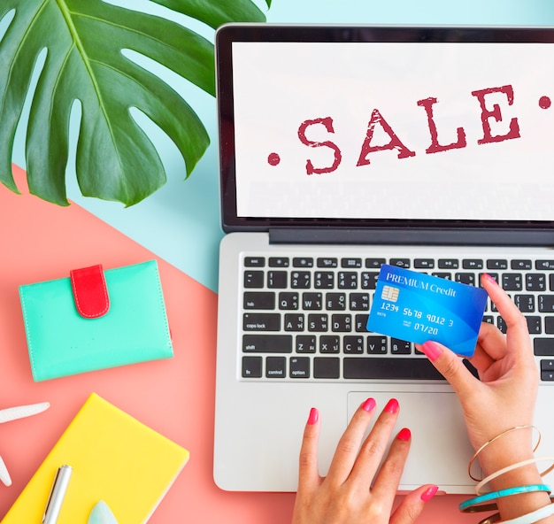 Concepto de sello de descuento de compras de promoción de venta