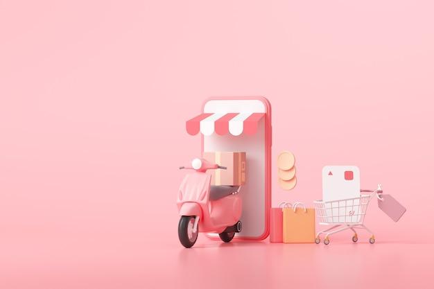Concepto de servicio de entrega rápida 3d. compras online y envío gratuito. representación 3d.