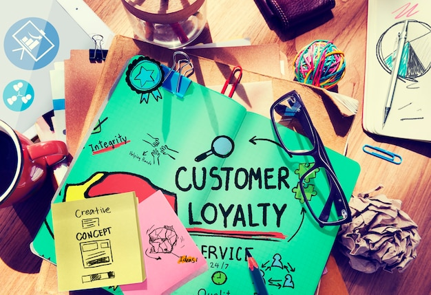 Concepto de servicio de estrategia de soporte de satisfacción de la lealtad del cliente