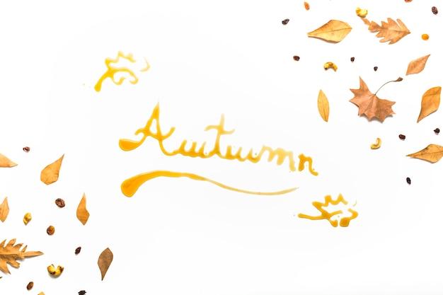 Concepto de signo de otoño en marco de hojas