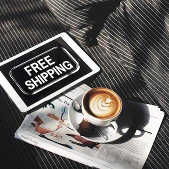 Concepto de signo de servicio de entrega de envío gratis