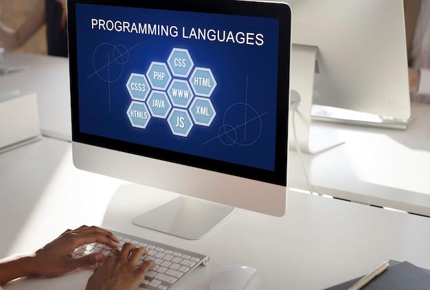 Concepto de software de desarrollador de codificación de lenguaje de programación