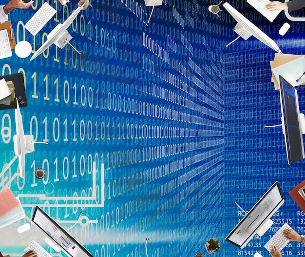 Concepto de software de tecnología de dígitos de código binario