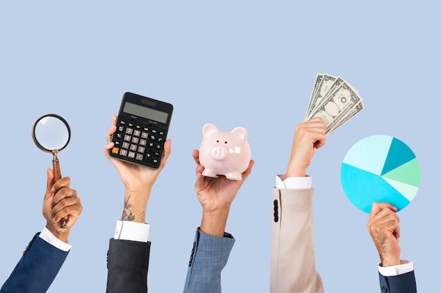 Concepto de soluciones de beneficio de manos de crecimiento empresarial