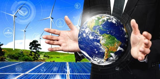 Concepto de sostenibilidad por energías alternativas.