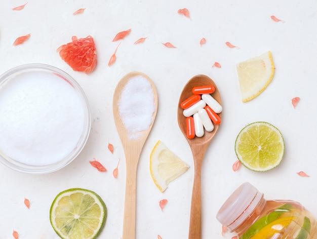 El concepto de suplementos nutricionales saludables.