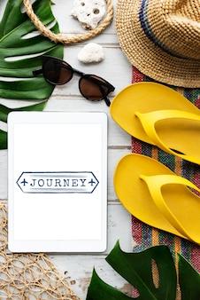 Concepto de tableta de viaje de navegación de viaje de viaje de vacaciones