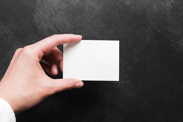Concepto de tarjeta de visita en blanco vista superior