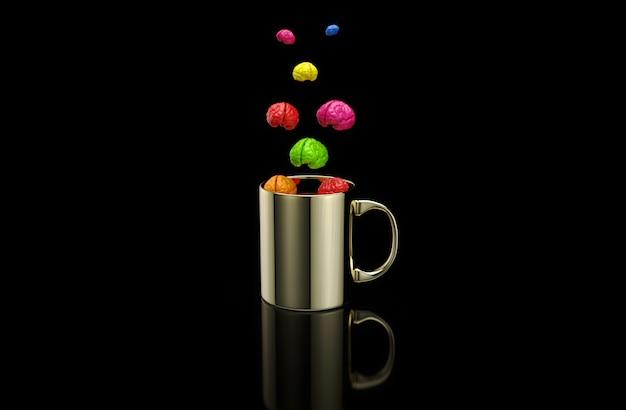 Concepto de una taza de café caliente con cerebro