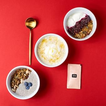Concepto de tazón de desayuno de desintoxicación y superalimentos saludables. vegania leche de coco semillas de chia pudín, arándanos y nueces.