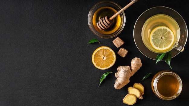 Concepto de té delicioso y saludable con espacio de copia