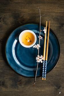 Concepto de té verde de estilo asiático