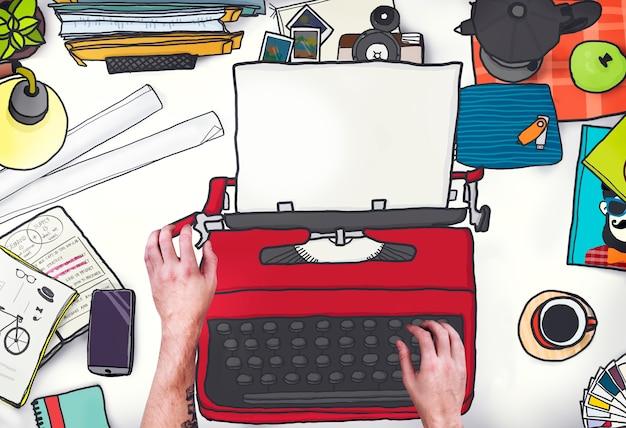 Concepto de teclado retro de la máquina de mensajes de máquina de escribir