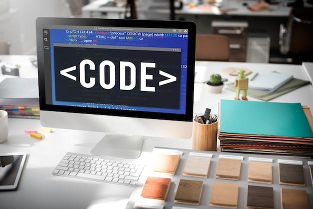 Concepto técnico de tecnología de programación de codificación de código