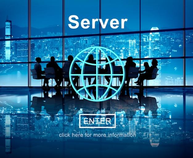 Concepto de tecnología de base de datos de equipo de red