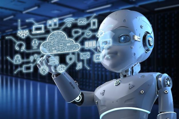 Concepto de tecnología de computación en la nube con renderizado 3d lindo robot y pantalla gráfica