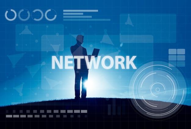 Concepto de la tecnología de la conexión de digitaces de la red de ordenadores