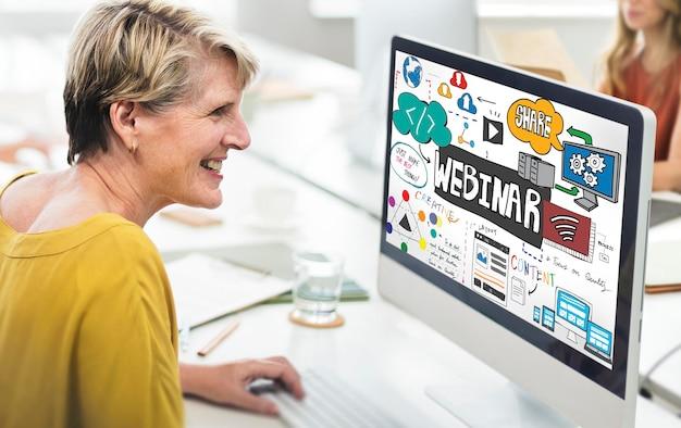 Concepto de tecnología de diseño web de innovación webinar