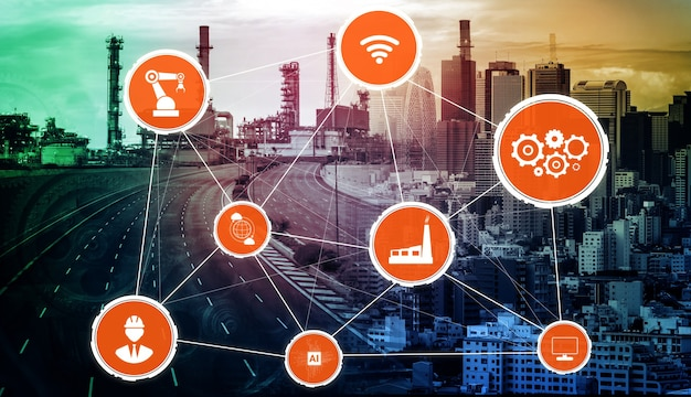 Concepto de tecnología de la industria 4.0: fábrica inteligente para la cuarta revolución industrial