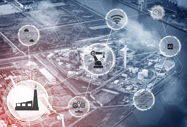 Concepto de tecnología de la industria 4.0. fábrica inteligente para la cuarta revolución industrial