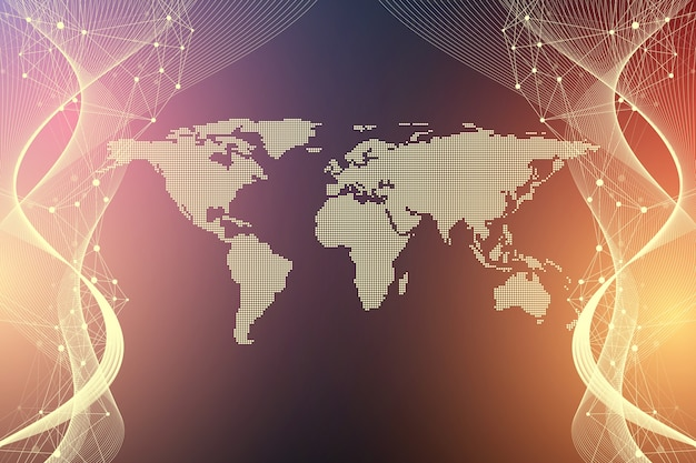 Concepto de tecnología informática cuántica. inteligencia artificial de aprendizaje profundo. visualización de algoritmos de big data para negocios, ciencia, tecnología. las olas fluyen, ilustración.