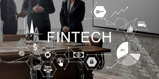 Concepto de tecnología de internet financiera de inversión fintech