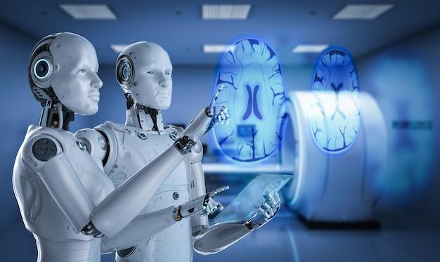 Concepto de tecnología médica con cyborgs de renderizado 3d con cerebro de rayos x de pantalla gráfica