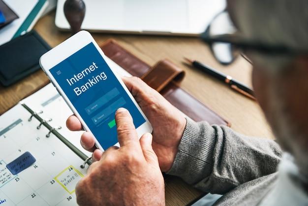 Concepto de tecnología de pago en línea de banca por internet