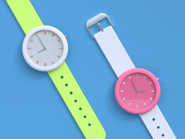 Concepto de tecnología de reloj blanco rosa renderizado 3d
