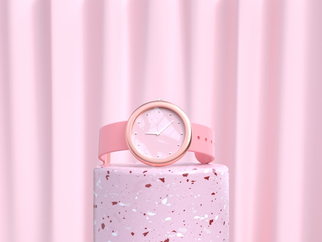 Concepto de tecnología de reloj rosa de representación 3d