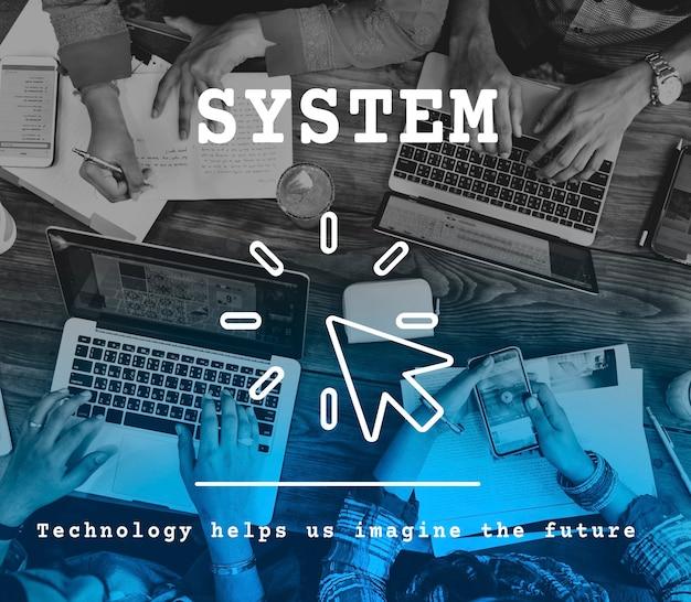 Concepto de tecnología de sistema de red informática