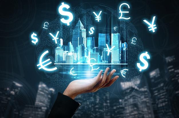 Concepto de tecnología de transacciones de dinero y finanzas