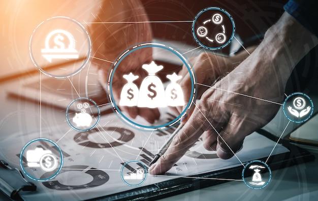 Concepto de tecnología de transacciones financieras y monetarias.