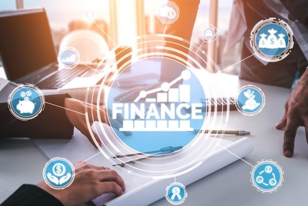 Concepto de tecnología de transacciones financieras y monetarias