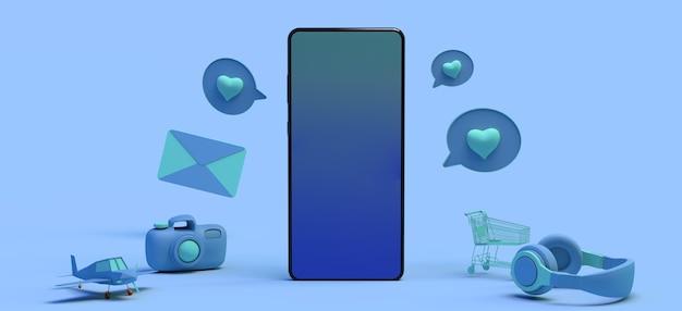Concepto de teléfono inteligente con objetos flotantes, juegos de auriculares, mensajes de reloj despertador, correo electrónico, espacio de copia