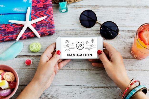 Concepto de teléfono de viaje de navegación de viaje de viaje de vacaciones