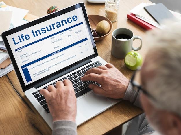 Concepto de términos de uso de la póliza de seguro de vida