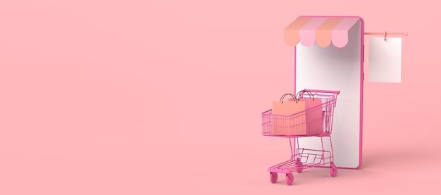 Concepto de tienda en línea a través de teléfono inteligente copia espacio ilustración 3d compras en línea
