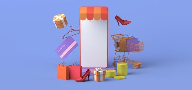 Concepto de tienda en línea a través del teléfono inteligente copia espacio ilustración 3d maqueta de compras en línea