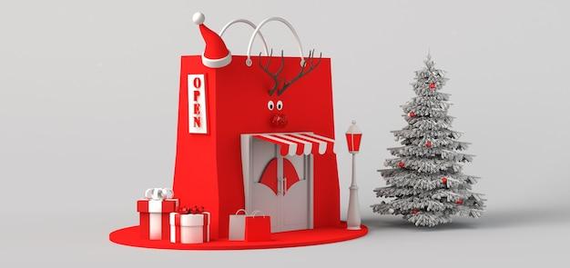 Concepto de tienda de navidad. copie el espacio. ilustración 3d.