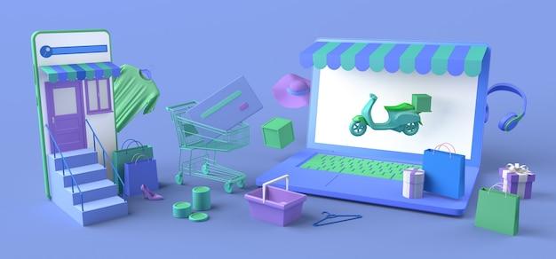 Concepto de tienda online y entrega a domicilio con ordenador portátil y smartphone. copie el espacio. ilustración 3d.