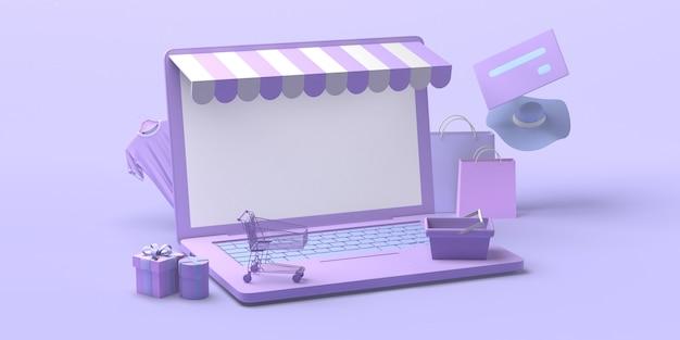 Concepto de tienda online con ordenador portátil. copie el espacio. ilustración 3d.